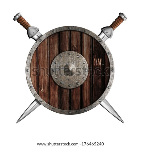 Two swords and wooden round shield isolated - stock photo