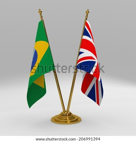 two table flag, partnership brazil and United Kingdom - stock photo
