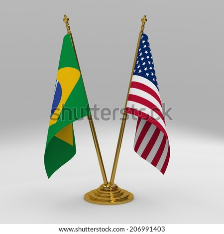 two table flag, partnership brazil and United States of America