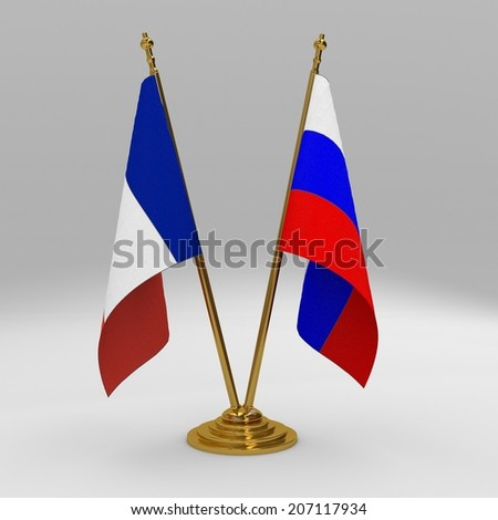 two table flag, partnership france and russia  - stock photo