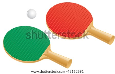 Two table tennis (ping pong) paddles and ball.