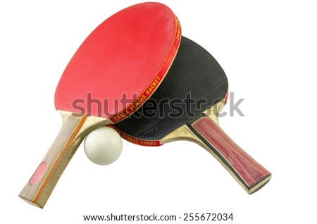 Two table tennis rackets and a ping pong ball isolated - stock photo