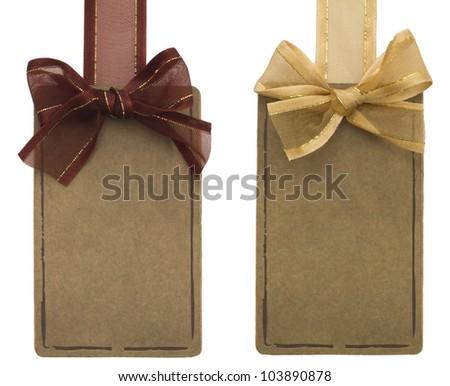 two tags with bows - stock photo