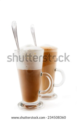 two tall glass cappuccino and latte - stock photo