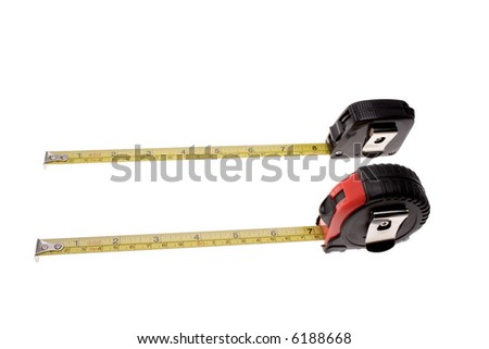 Two tape measures isolated over white