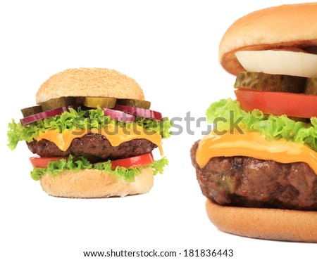 Two tasty cheeseburgers. Isolated on a white background.