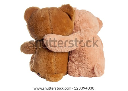 two teddy bears hugging / Friendship