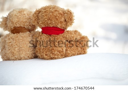 two teddy bears on a snow around each  - stock photo