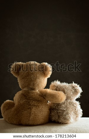 Two teddy bears sitting side by side on couch - stock photo