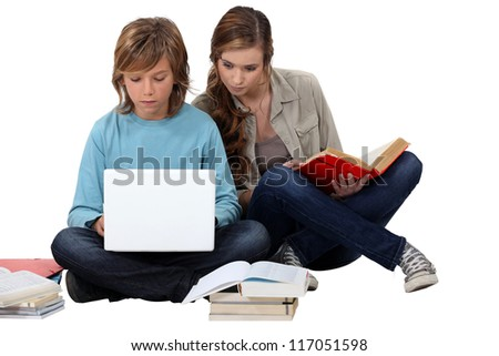Two teenage friends revising - stock photo