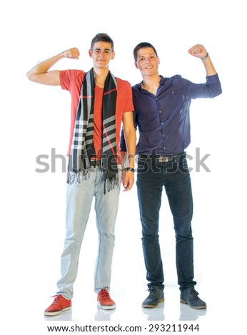 Two Teenagers In Casual Clothes Isolated On White - stock photo