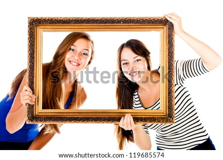 two teenagers in the frame isolated on a white background - stock photo