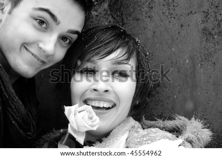 two teens smiling - stock photo