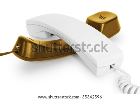 two telephone handsets over white. communication concepts