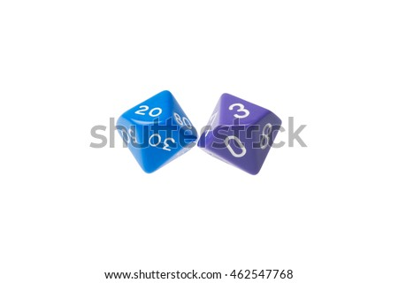 Two ten sided dice for board games