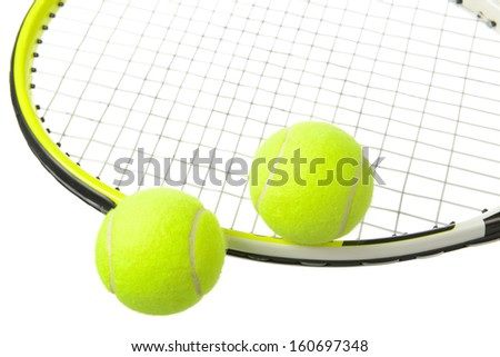 Two tennis balls and racket isolated on white background.