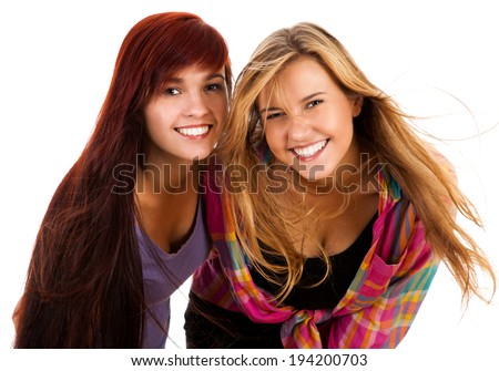 two the best girl friends, white background