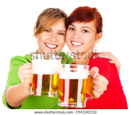 two the best girl friends with beer, white background - stock photo