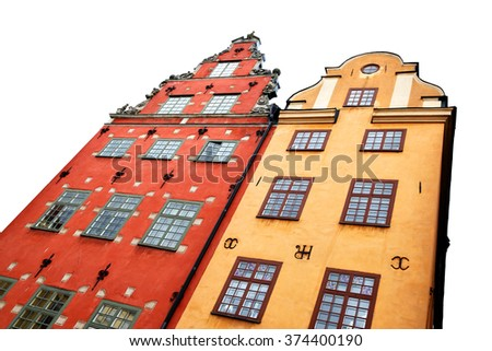 Two the most famous houses in Stockholm isolated on the white background - stock photo