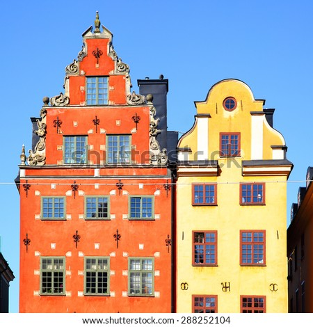 Two the most famous houses on Stortorget place in Stockholm, Sweden - stock photo