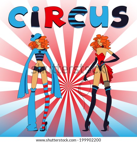 Two thin circus standing girls, red and blue clothing, with title - stock photo