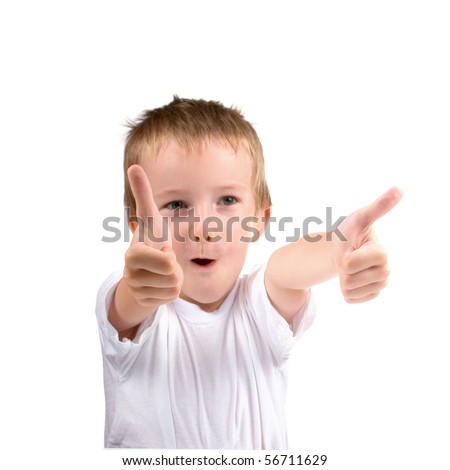Two thumb up, portrait of  boy on a white background