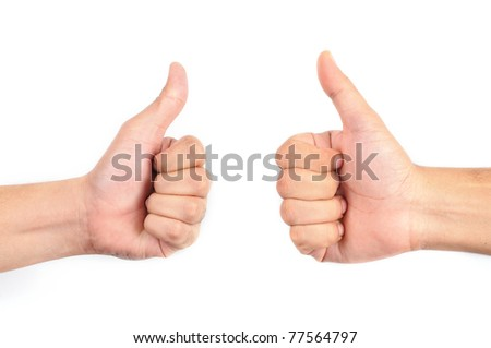 Two thumbs up isolated with white background - stock photo