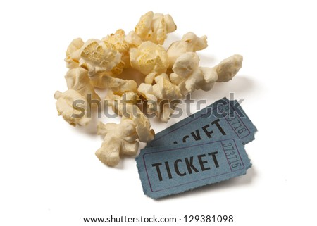 Two ticket stubs with popcorn on white background. Clipping path included. - stock photo