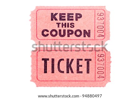 Two tickets isolated on a white background