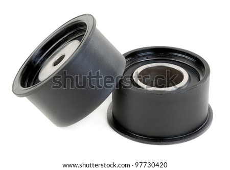 Two timing pulley, isolate on white - stock photo