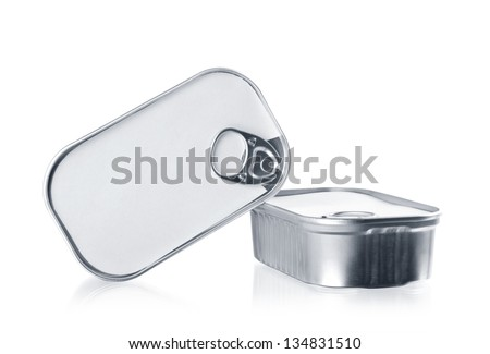 Two tin cans closed isolated over white. Food packaging - stock photo