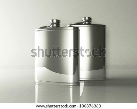 two tin flasks, rendering - stock photo