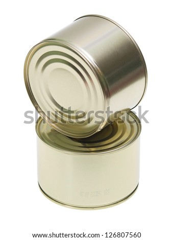 two tins cans isolated on white background