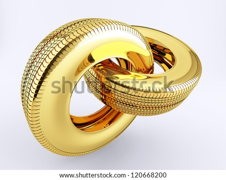 Two tires of gold in the form of a chain link - stock photo