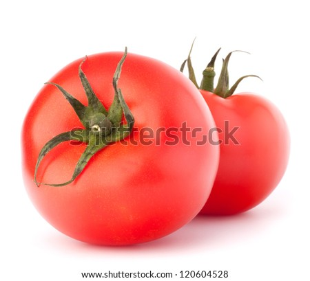 Two tomato vegetable isolated on white background cutout - stock photo