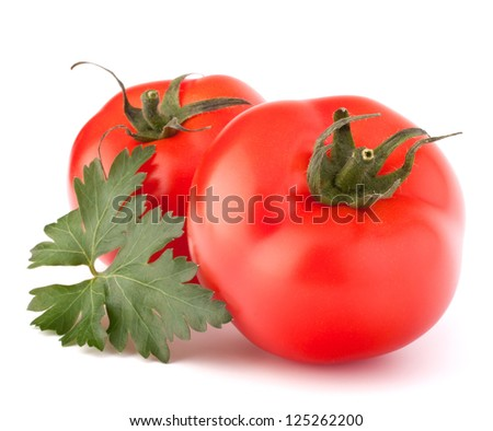 Two tomato vegetables and parsley leaves still life isolated on white background cutout