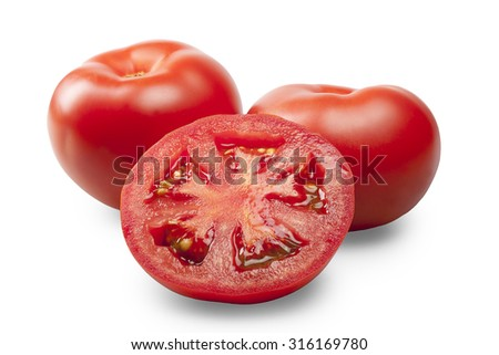 Two tomatoes and a half of tomato isolated on white background