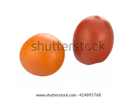 Two tomatoes isolated on white - stock photo