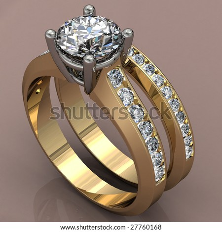 two tone diamond wedding ring set on brown reflective background