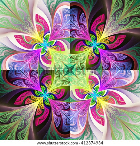 Two-tone flower pattern in stained-glass window style. You can use it for invitations, notebook covers, phone case, postcards, cards, wallpapers and so on. Artwork for creative design, art  - stock photo