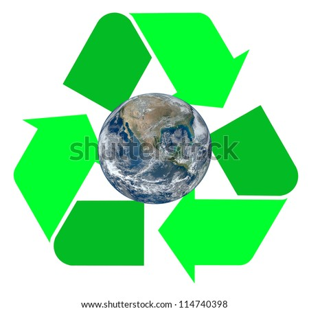 """Two tone green international Recycle Symbol, illustration with the Earth inside of it Isolated On White Background,""""Elements of this image furnished by NASA"""" - stock photo"""