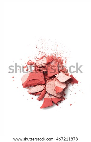 Two tone pink color Face make up powder cracked on background