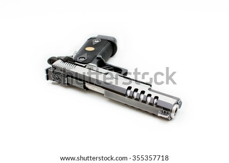 Two tones Pistol handgun isolated with white background  - stock photo