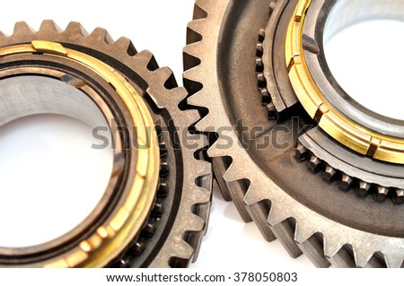 Two toothed gears isolated on white background.
