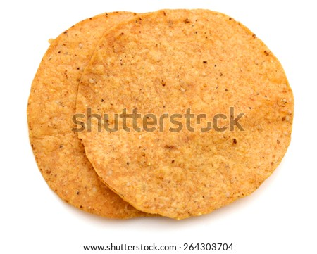two tortilla chips on white background  - stock photo