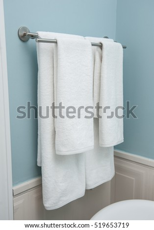 Merveilleux Two Towels Hanging On The Clothes Line.Clean White Towels On A Hanger.white