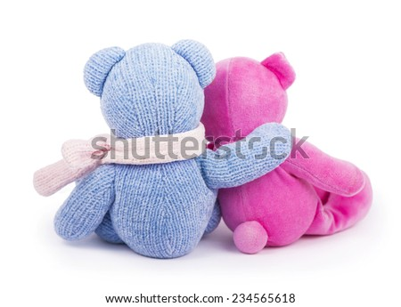 two toy blue and pink bear on white background  - stock photo