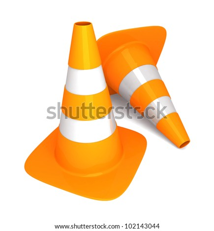 two traffic cone on white background. - stock photo