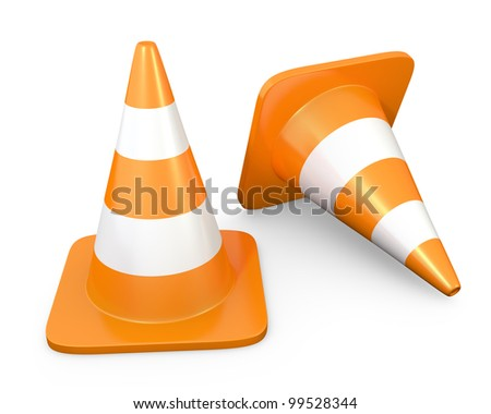 Two traffic cones, isolated on white background - stock photo