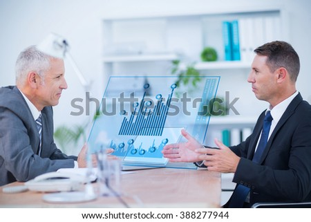 Two transfused patients lying on a medical bed against two serious businessmen speaking and working - stock photo